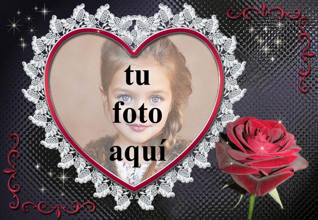 Marco blanco con flores rojas foto marcos - Marco blanco con flores rojas foto marcos