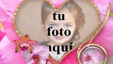 Photo of Marco de corazón de flores rosadas foto marcos