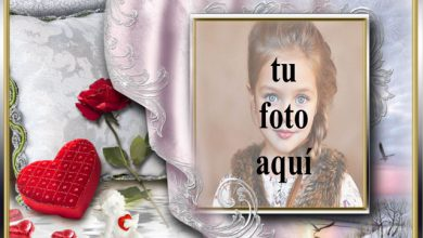 Photo of Marco de corazón rojo con flor roja foto marcos