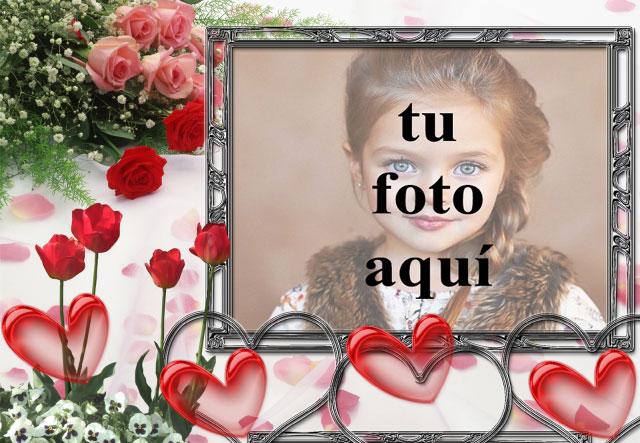 Marco decorado con flores y corazones. foto marcos - Marco decorado con flores y corazones. foto marcos