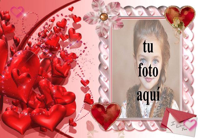 marco rosa con muchos corazones rojos foto marcos - marco rosa con muchos corazones rojos foto marcos