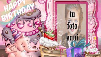 Photo of Feliz Cumpleaños Con Bebé Elefante Marcos para fotos
