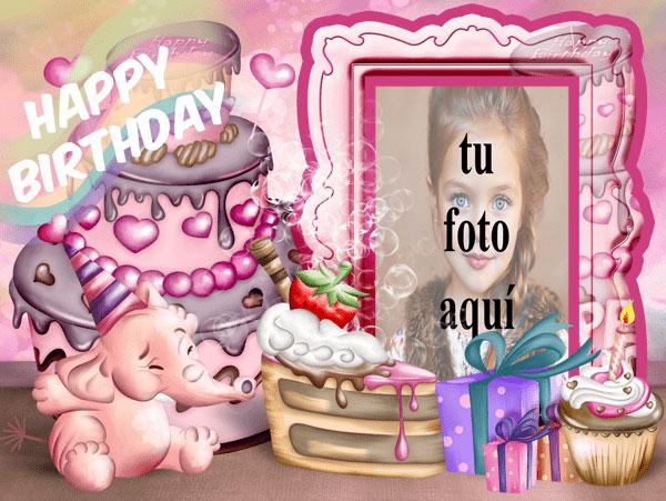 Feliz Cumpleaños Con Bebé Elefante Marcos para fotos - Feliz Cumpleaños Con Bebé Elefante Marcos para fotos