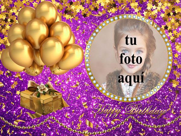 Feliz Cumpleaños Con Globos Dorados Marcos para fotos - Feliz Cumpleaños Con Globos Dorados Marcos para fotos