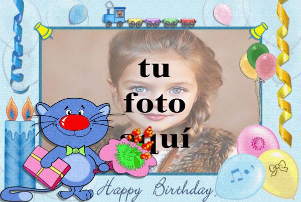 Feliz Cumpleaños Con Lindo Gato Marcos para fotos - Feliz Cumpleaños Con Lindo Gato Marcos para fotos