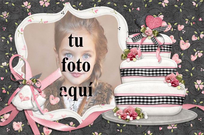Feliz Cumpleaños Con Pastel Blanco Marcos para fotos - Feliz Cumpleaños Con Pastel Blanco Marcos para fotos