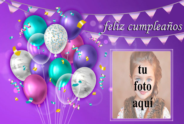 Marco de fotos de feliz cumpleaños con fiesta decorada 2 - Marco de fotos de feliz cumpleaños con fiesta decorada 2