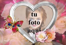 Mariposa Joya con marco de fotos corazón blanco 220x150 - Mariposa Joya con marco de fotos corazón blanco