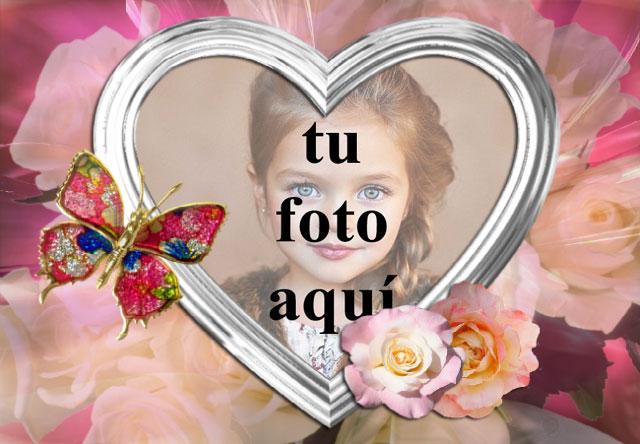 Mariposa Joya con marco de fotos corazón blanco - Mariposa Joya con marco de fotos corazón blanco
