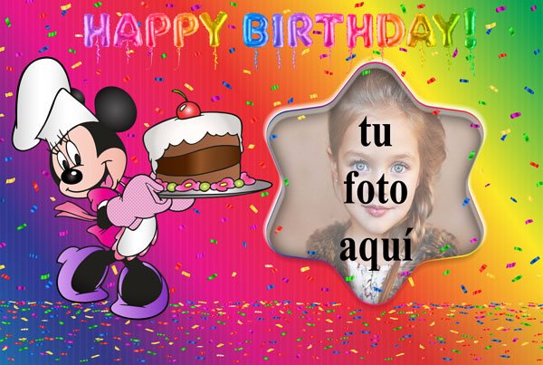 Pastel De Cumpleaños De Minnie Mouse Marco Foto - Pastel De Cumpleaños De Minnie Mouse Marco Foto