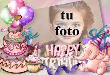 Tarjeta De Feliz Cumpleaños Con Buen Pastel Marcos para fotos 220x150 - Tarjeta De Feliz Cumpleaños Con Buen Pastel Marcos para fotos