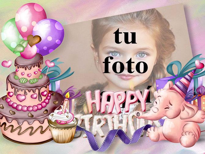 Tarjeta De Feliz Cumpleaños Con Buen Pastel Marcos para fotos - Tarjeta De Feliz Cumpleaños Con Buen Pastel Marcos para fotos