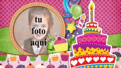 Photo of Tarjeta De Feliz Cumpleaños Con Pastel Marcos para fotos
