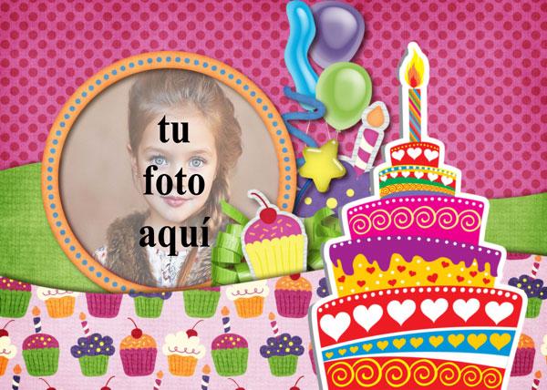 Tarjeta De Feliz Cumpleaños Con Pastel Marcos para fotos - Tarjeta De Feliz Cumpleaños Con Pastel Marcos para fotos