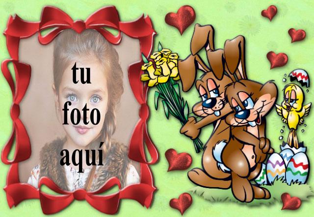conejito enamorado marco de fotos - conejito enamorado marco de fotos