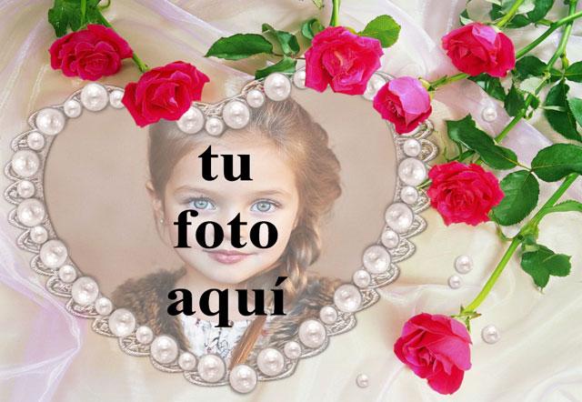 el marco de fotos romantico collar de perlas - el marco de fotos romántico collar de perlas