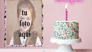 Photo of feliz cumpleaños con marco de fotos de pastel crujiente