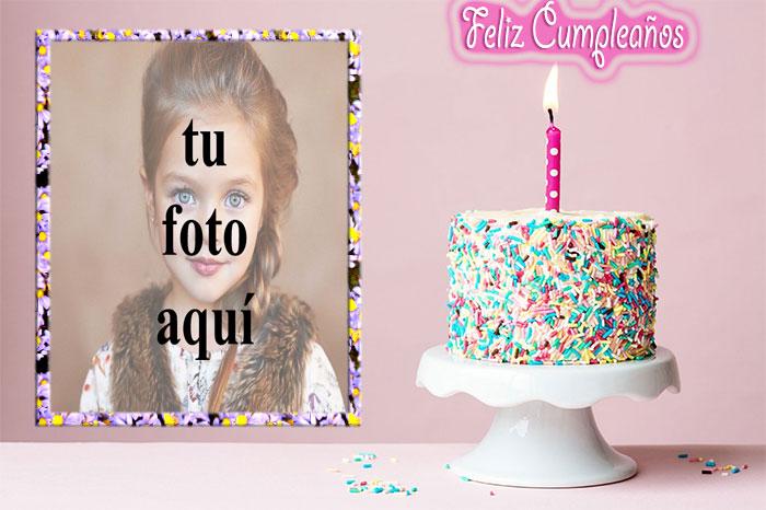 feliz cumpleaños con marco de fotos de pastel crujiente - feliz cumpleaños con marco de fotos de pastel crujiente