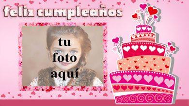 Photo of feliz cumpleaños marco de fotos corazones pastel