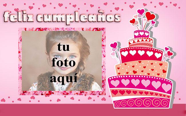 feliz cumpleaños marco de fotos corazones pastel - feliz cumpleaños marco de fotos corazones pastel