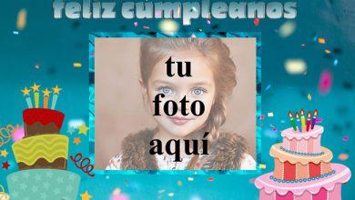 Photo of feliz cumpleaños marco de fotos dos pastel