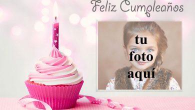 Photo of feliz cumpleaños marco de fotos rosa con pastel pequeño