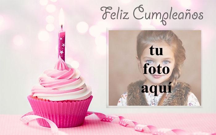 feliz cumpleaños marco de fotos rosa con pastel pequeño - feliz cumpleaños marco de fotos rosa con pastel pequeño