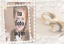 marco de fotos de boda con pequeñas rosas blancas y anillos dorados 220x150 - marco de fotos de boda con pequeñas rosas blancas y anillos dorados