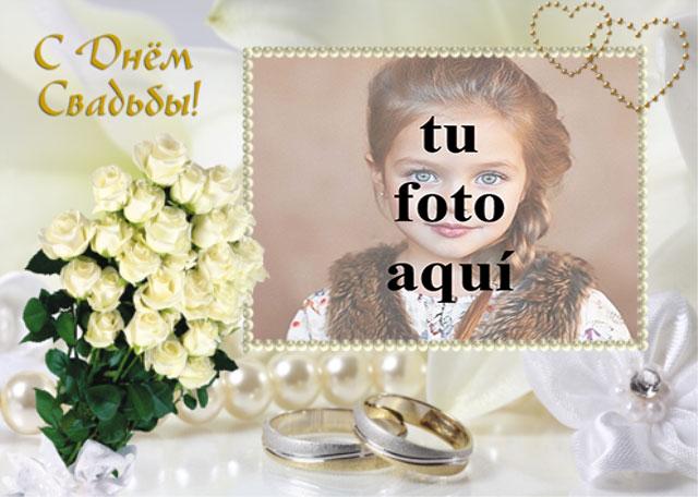 marco de fotos de boda con ramo de rosas blancas - marco de fotos de boda con ramo de rosas blancas