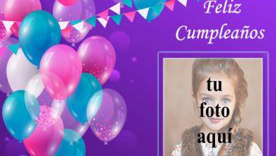 Photo of marco de fotos de feliz cumpleaños con bonitos globos de colores