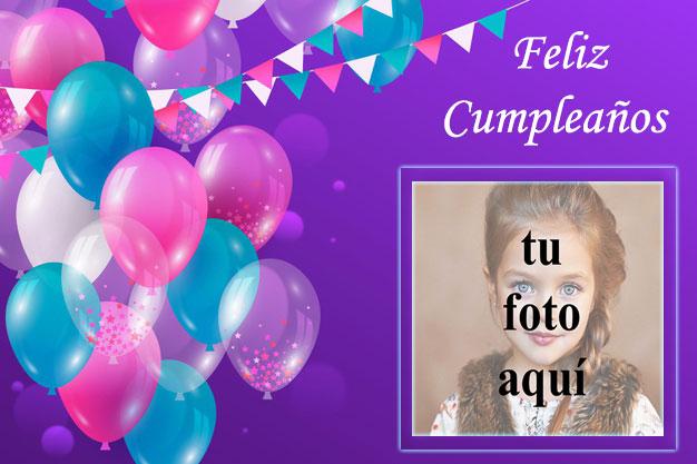 marco de fotos de feliz cumpleaños con bonitos globos de colores - marco de fotos de feliz cumpleaños con bonitos globos de colores