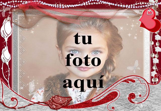 marco de fotos decorado romantico rojo - marco de fotos decorado romántico rojo