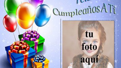 Photo of marco de fotos feliz cumpleaños con regalos y globos