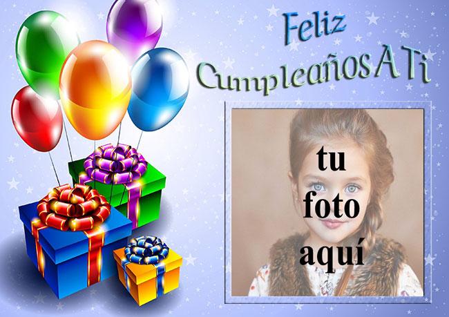 marco de fotos feliz cumpleaños con regalos y globos - marco de fotos feliz cumpleaños con regalos y globos