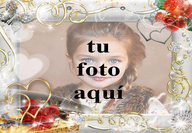 romantico marco de fotos plateado decorado con flores doradas - romántico marco de fotos plateado decorado con flores doradas