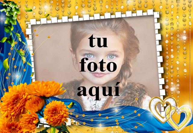 rosas naranjas con marco de fotos de fondo dorado - rosas naranjas con marco de fotos de fondo dorado