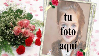 Photo of Marco de fotos de ramo de rosas rojas con marco romántico