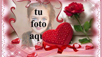 Photo of amor romántico marco de fotos de corazón rojo con fondo rosa