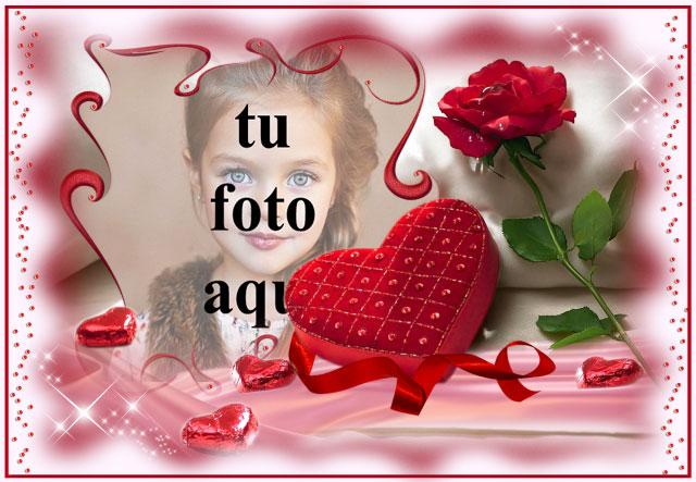 amor romantico marco de fotos de corazon rojo con fondo rosa - amor romántico marco de fotos de corazón rojo con fondo rosa