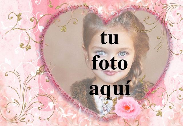 corazon rosa decorado con marco de fotos de raices doradas - corazón rosa decorado con marco de fotos de raíces doradas