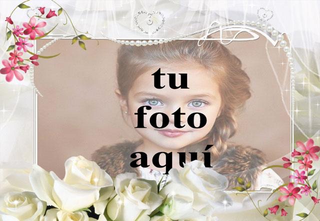 marco de fotos blanco con flor blanca romantica - marco de fotos blanco con flor blanca romántica