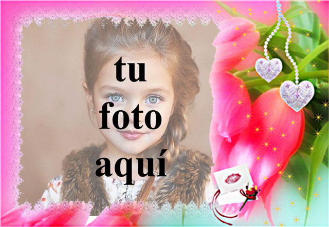 marco de fotos de amor rojo con flor romantica - marco de fotos de amor rojo con flor romántica