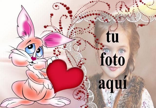 marco de fotos de conejito de amor con marco decorativo - marco de fotos de conejito de amor con marco decorativo