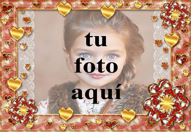 marco de fotos dorado romantico con muchos corazones pequenos - marco de fotos dorado romántico con muchos corazones pequeños