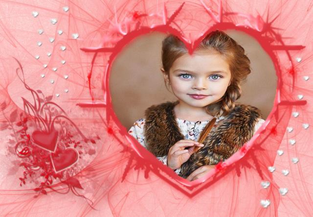 marco de fotos romantico color rosa y gran corazon romantico - marco de fotos romántico color rosa y gran corazón romántico
