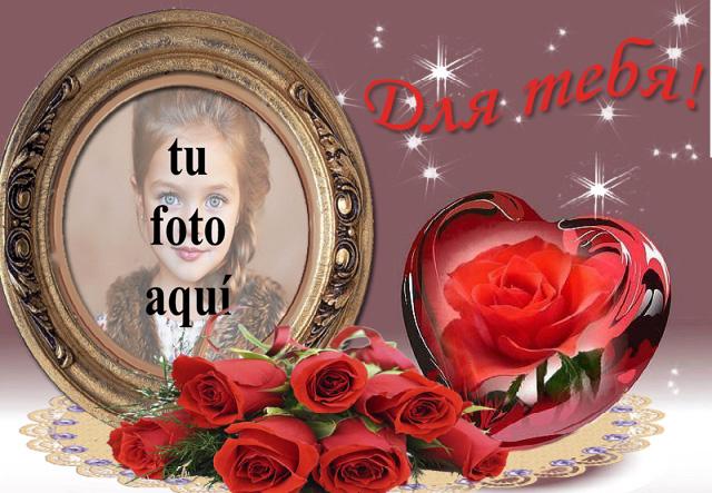 marco de fotos romantico con flor roja dentro del corazon - marco de fotos romántico con flor roja dentro del corazón