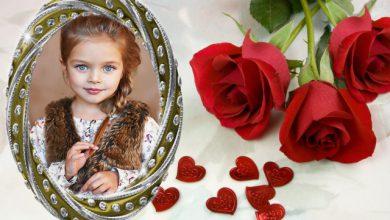 Photo of marco de fotos romántico con marco blanco y rosas rojas románticas