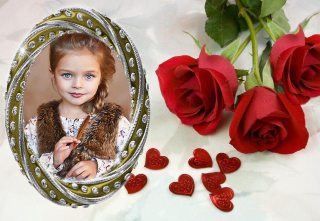 marco de fotos romantico con marco blanco y rosas rojas romanticas - marco de fotos romántico con marco blanco y rosas rojas románticas