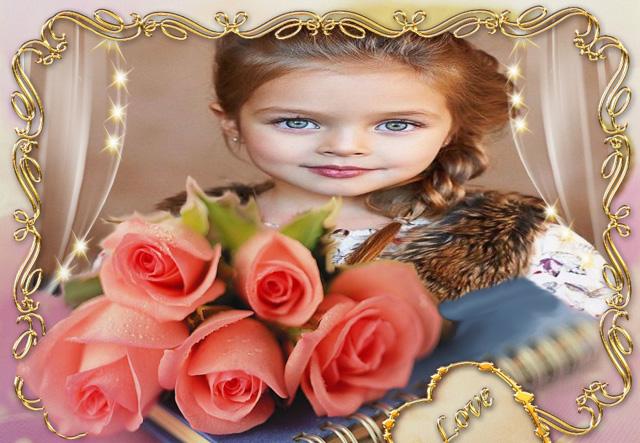 marco de fotos romantico con marco dorado y rosa rosa - marco de fotos romántico con marco dorado y rosa rosa