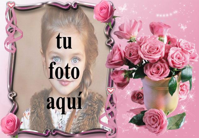 pequeno ramo de rosas rosadas marco de fotos romantico - pequeño ramo de rosas rosadas marco de fotos romántico